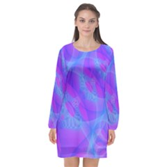 Original Purple Blue Fractal Composed Overlapping Loops Misty Translucent Long Sleeve Chiffon Shift Dress  by Mariart