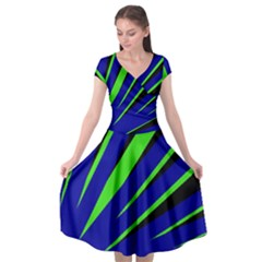 Rays Light Chevron Blue Green Black Cap Sleeve Wrap Front Dress by Mariart