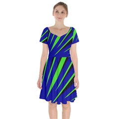 Rays Light Chevron Blue Green Black Short Sleeve Bardot Dress by Mariart