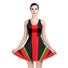 Rays Light Chevron Green Red Black Reversible Skater Dress