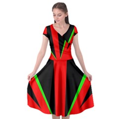 Rays Light Chevron Green Red Black Cap Sleeve Wrap Front Dress