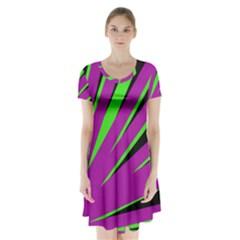 Rays Light Chevron Purple Green Black Short Sleeve V Neck Flare Dress by Mariart