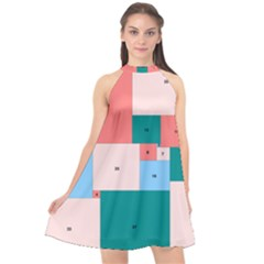 Simple Perfect Squares Squares Order Halter Neckline Chiffon Dress