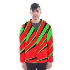 Rays Light Chevron Red Green Black Hooded Wind Breaker (men)