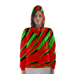 Rays Light Chevron Red Green Black Hooded Wind Breaker (women)