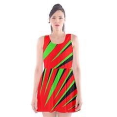 Rays Light Chevron Red Green Black Scoop Neck Skater Dress