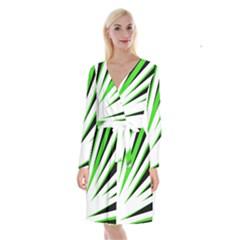 Rays Light Chevron White Green Black Long Sleeve Velvet Front Wrap Dress by Mariart