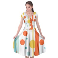 Stripes Dots Line Circle Vertical Yellow Red Blue Polka Cap Sleeve Wrap Front Dress