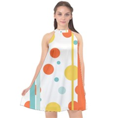 Stripes Dots Line Circle Vertical Yellow Red Blue Polka Halter Neckline Chiffon Dress