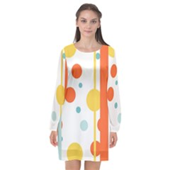 Stripes Dots Line Circle Vertical Yellow Red Blue Polka Long Sleeve Chiffon Shift Dress  by Mariart