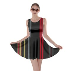 Stripes Line Black Red Skater Dress by Mariart