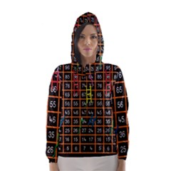 Snakes Ladders Game Plaid Number Hooded Wind Breaker (women)