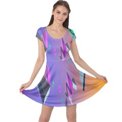 Triangle Wave Rainbow Cap Sleeve Dresses