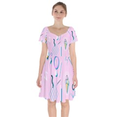 Vintage Unique Graphics Memphis Style Geometric Short Sleeve Bardot Dress