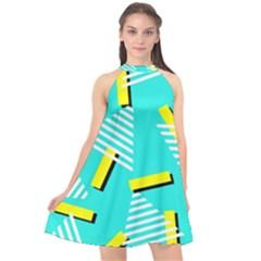 Vintage Unique Graphics Memphis Style Geometric Triangle Line Cube Yellow Green Blue Halter Neckline Chiffon Dress