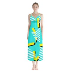 Vintage Unique Graphics Memphis Style Geometric Triangle Line Cube Yellow Green Blue Button Up Chiffon Maxi Dress by Mariart