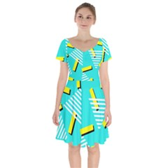Vintage Unique Graphics Memphis Style Geometric Triangle Line Cube Yellow Green Blue Short Sleeve Bardot Dress by Mariart