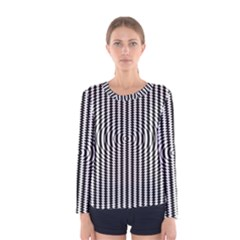 Vertical Lines Waves Wave Chevron Small Black Women s Long Sleeve Tee by Mariart