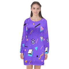 Vintage Unique Graphics Memphis Style Geometric Style Pattern Grapic Triangle Big Eye Purple Blue Long Sleeve Chiffon Shift Dress  by Mariart