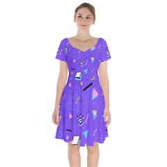Vintage Unique Graphics Memphis Style Geometric Style Pattern Grapic Triangle Big Eye Purple Blue Short Sleeve Bardot Dress