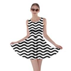 Waves Stripes Triangles Wave Chevron Black Skater Dress