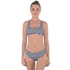 Waves Stripes Triangles Wave Chevron Black Criss Cross Bikini Set by Mariart