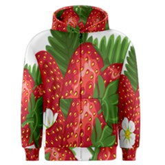 Strawberry Red Seed Leaf Green Men s Zipper Hoodie by Mariart