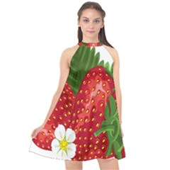 Strawberry Red Seed Leaf Green Halter Neckline Chiffon Dress