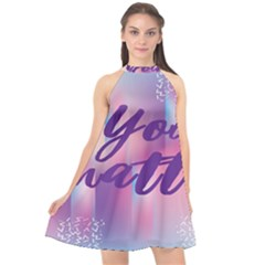 You Matter Purple Blue Triangle Vintage Waves Behance Feelings Beauty Halter Neckline Chiffon Dress  by Mariart