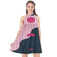 Waves Line Polka Dots Vertical Black Pink Halter Neckline Chiffon Dress