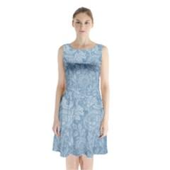 Vintage Morris Floral Blue Sleeveless Waist Tie Chiffon Dress by pixeldiva