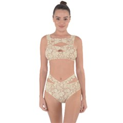 Vintage Morris Floral Brown Bandaged Up Bikini Set  by pixeldiva