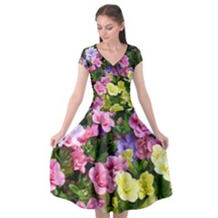 Lovely Flowers 17 Cap Sleeve Wrap Front Dress by MoreColorsinLife