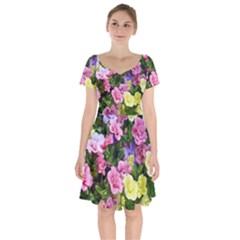 Lovely Flowers 17 Short Sleeve Bardot Dress
