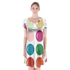 Brights Pastels Bubble Balloon Color Rainbow Short Sleeve V Neck Flare Dress by Mariart