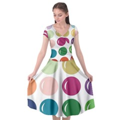 Brights Pastels Bubble Balloon Color Rainbow Cap Sleeve Wrap Front Dress