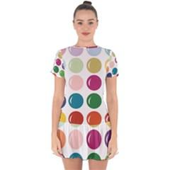 Brights Pastels Bubble Balloon Color Rainbow Drop Hem Mini Chiffon Dress by Mariart