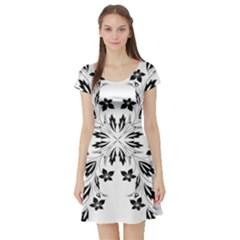 Floral Element Black White Short Sleeve Skater Dress