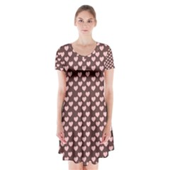 Chocolate Pink Hearts Gift Wrap Short Sleeve V Neck Flare Dress by Mariart