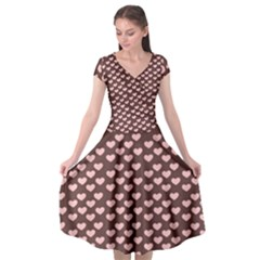 Chocolate Pink Hearts Gift Wrap Cap Sleeve Wrap Front Dress by Mariart