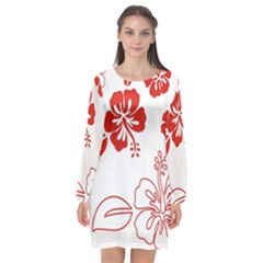 Hawaiian Flower Red Sunflower Long Sleeve Chiffon Shift Dress