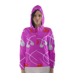 Heart Love Pink Red Hooded Wind Breaker (women)