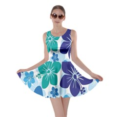 Hibiscus Flowers Green Blue White Hawaiian Skater Dress