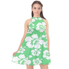 Hibiscus Flowers Green White Hawaiian Halter Neckline Chiffon Dress  by Mariart