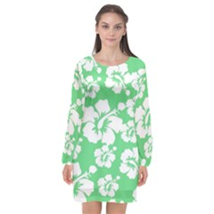 Hibiscus Flowers Green White Hawaiian Long Sleeve Chiffon Shift Dress  by Mariart