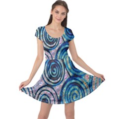 Green Blue Circle Tie Dye Kaleidoscope Opaque Color Cap Sleeve Dresses by Mariart