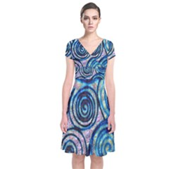 Green Blue Circle Tie Dye Kaleidoscope Opaque Color Short Sleeve Front Wrap Dress