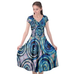 Green Blue Circle Tie Dye Kaleidoscope Opaque Color Cap Sleeve Wrap Front Dress