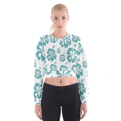 Hibiscus Flowers Green White Hawaiian Blue Cropped Sweatshirt by Mariart