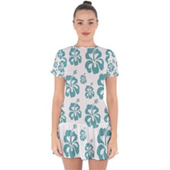 Hibiscus Flowers Green White Hawaiian Blue Drop Hem Mini Chiffon Dress